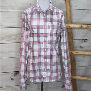 Abercrombie & Fitch Bleached Plaid Muscle Button S